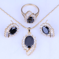 18K Yellow Gold Plated Black Onyx Cubic Zirconia Jewelry Sets Necklace Pendant Earrings Rings Size 7