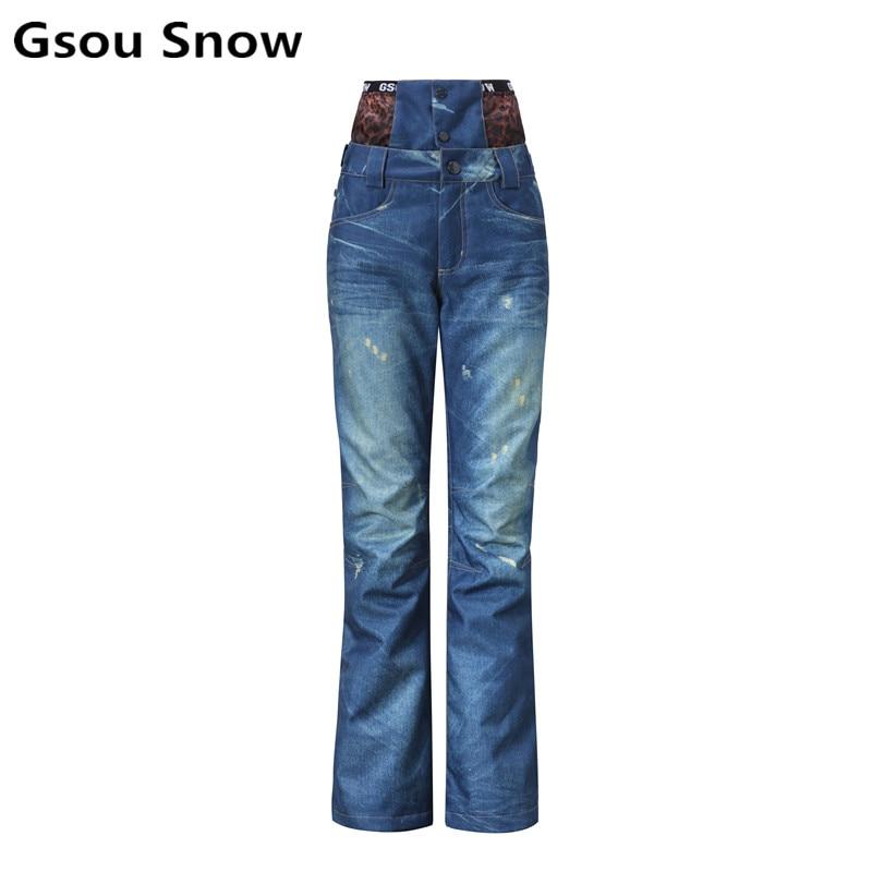 2017 winter denim snowboard jean ski pants women skiing overalls snowboard pants snow pa ...