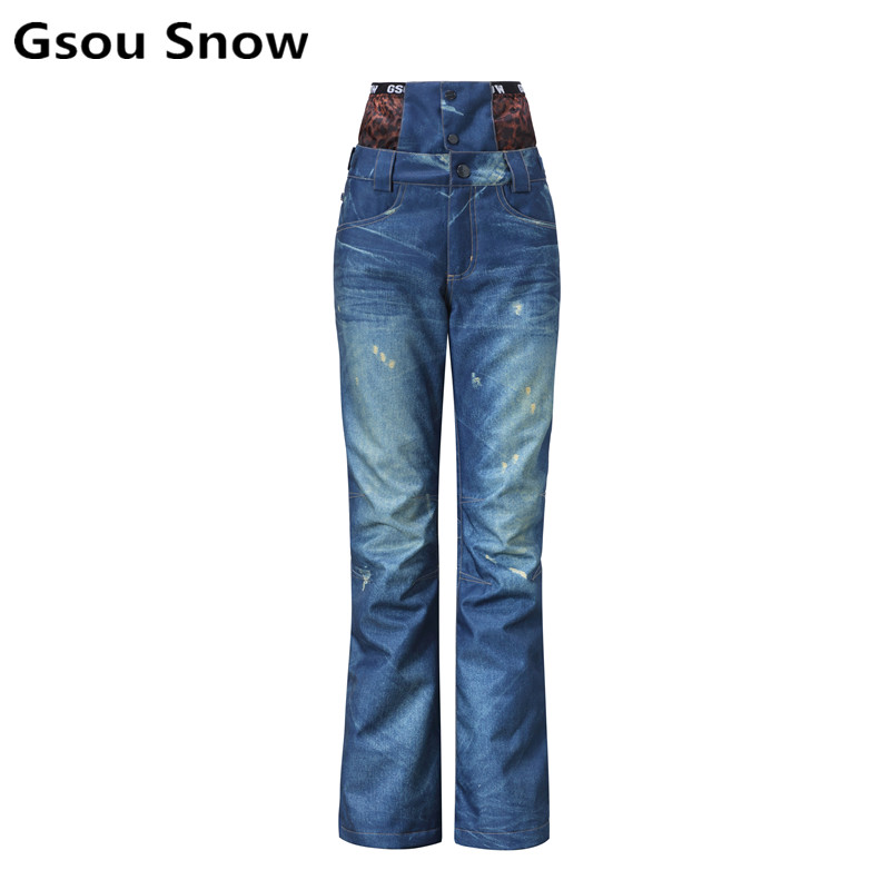 2017 winter denim snowboard jean ski pants women skiing overalls snowboard pants snow pants warm waterproof windproof in Skiing Pants from Sports Entertainment