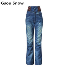 2016 winter denim snowboard jeans ski pants women skiing snow waterproof windproof