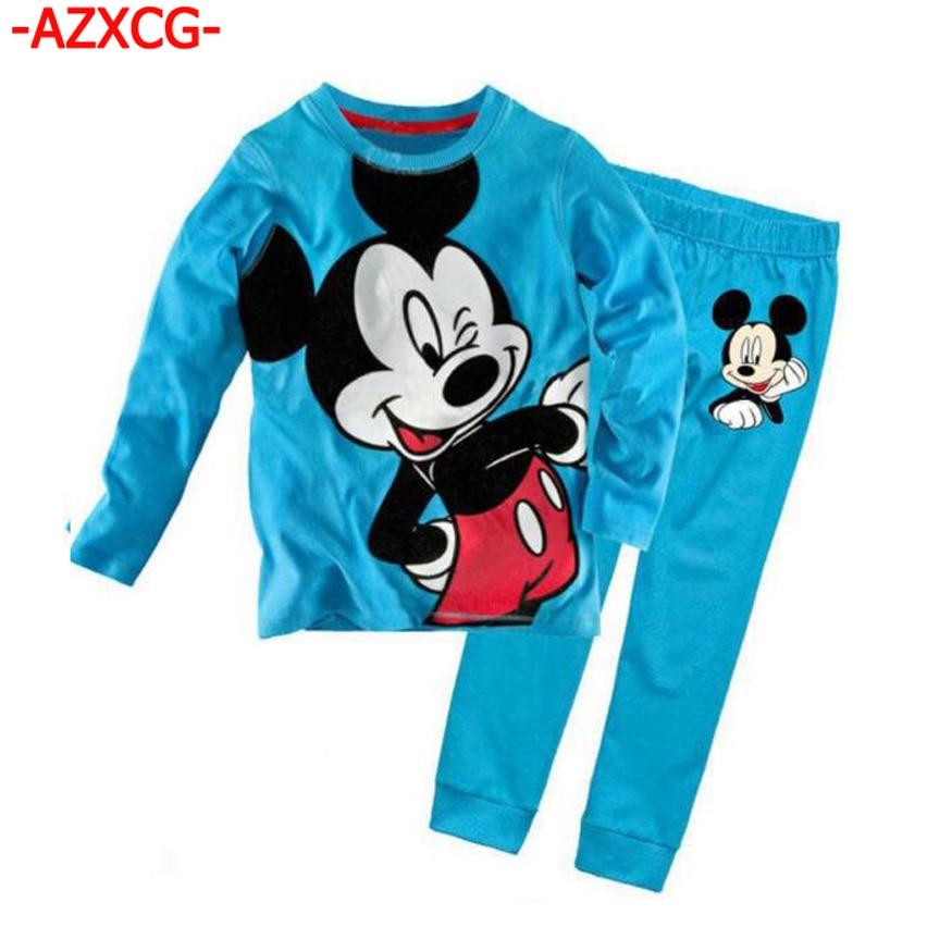Baby Boys Mickey Pajamas Brand Fashion Boy Sleepwear Kids Animal Appliques Pajama Set Boys Cute Cotton Pyjamas Suit Boy Clothing