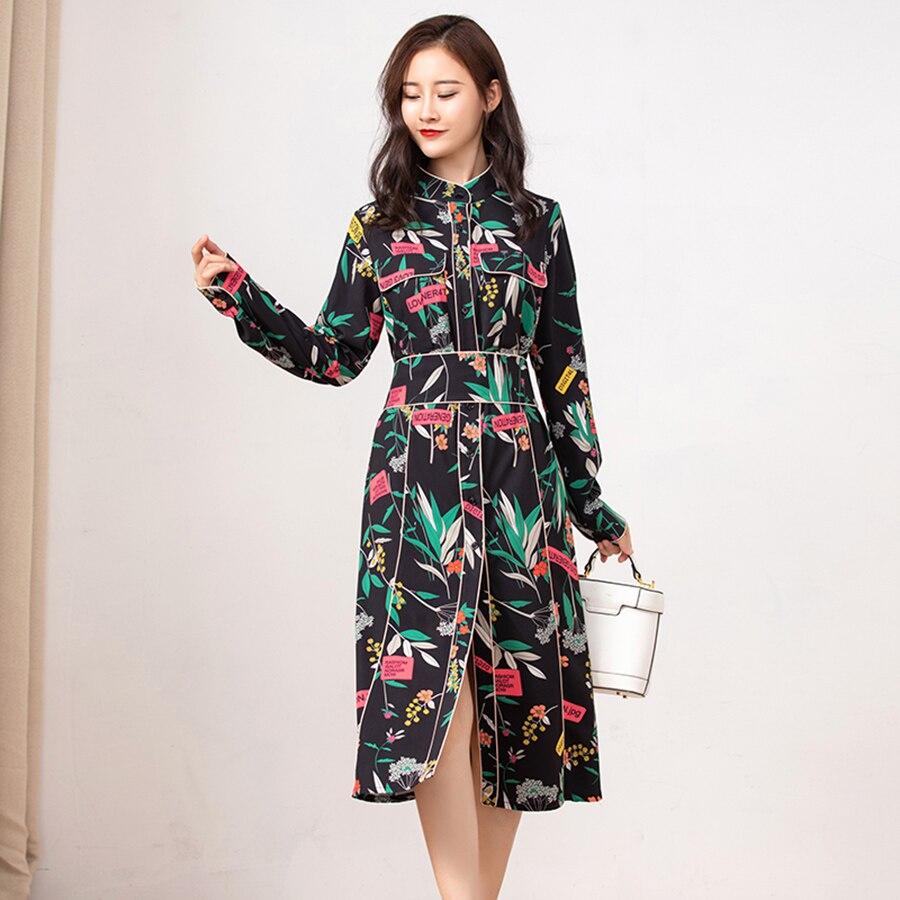 Verdejuliay 활주로 여성 가을 드레스 여름 2019 새로운 패션 고품질 꽃 인쇄 분할 빈티지 긴 드레스 vestidos-에서드레스부터 여성 의류 의  그룹 1