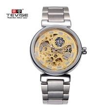 Original de la Marca de Relojes de Lujo TEVISE Hombres Huecos Reloj Ocasional Impermeable de Los Hombres Reloj de Acero Mecánico Automático Reloj Para Hombre Reloj de Pulsera
