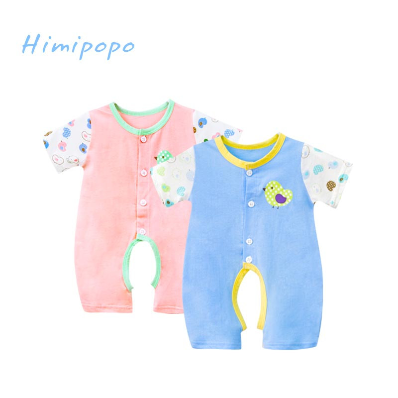HIMIPOPO 2 PCS Baby Romper Summer Newborn Baby Clothes Infant Boys Girls Jumpsuits Short Sleeve Coveralls