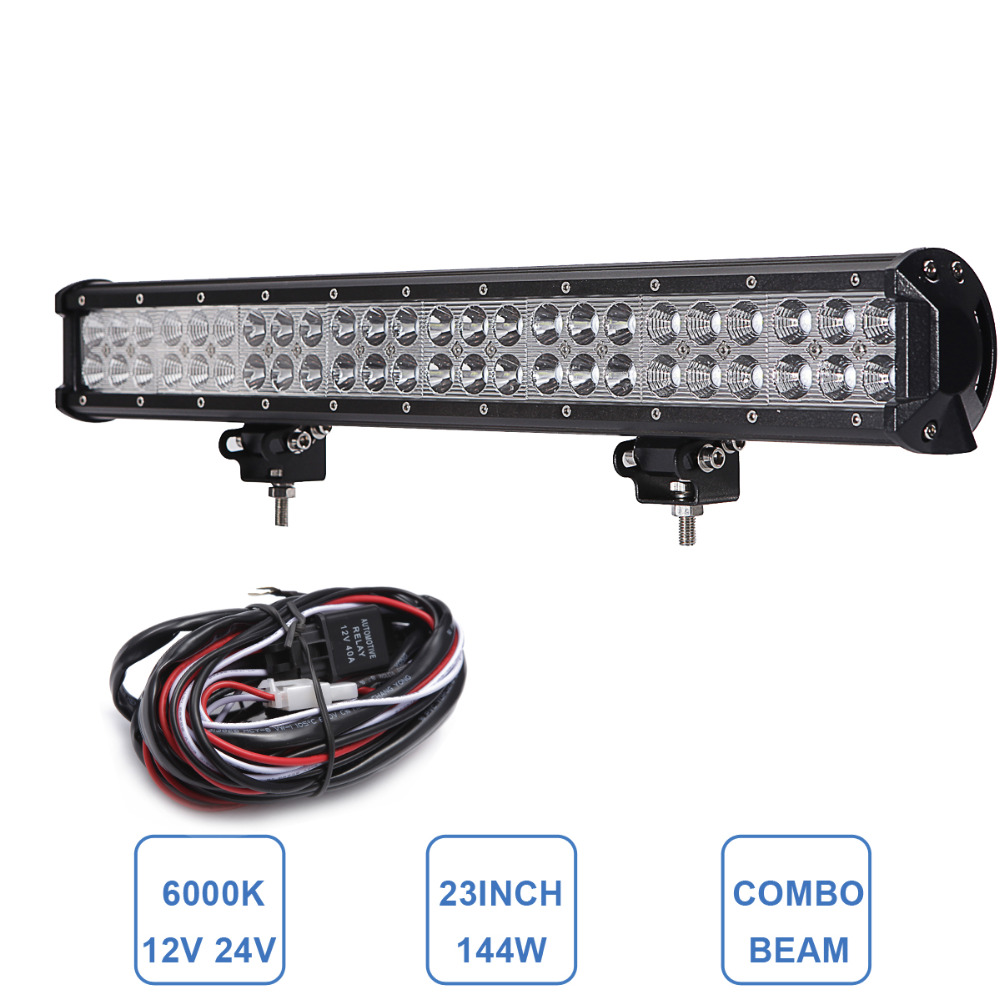23'' 144W Off Road LED Light Bar Combo 12V 24V 4WD AWD 4X4 SUV Caravan Pickup VAN Camper Boat Truck Trailer UTE Driving Car Lamp 22 200w curved led light bar off road tractor boat 4wd 4x4 truck suv atv ute 12v 24v van camper pickup wagon driving headlight