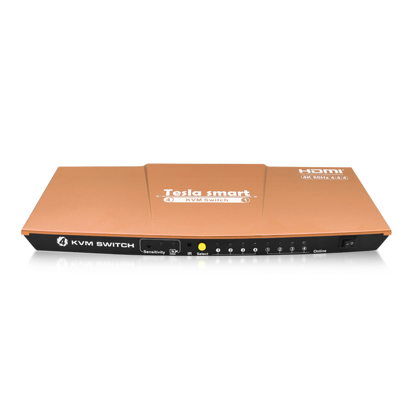 Gold Tesla smart HDMI 4K@60Hz High Quality USB HDMI KVM Switch 4 Port USB KVM HDMI Switch Support 4K*2K@60Hz Extra USB2.0 Port шапка salomon logo beanie цвет синий l39495900 размер универсальный