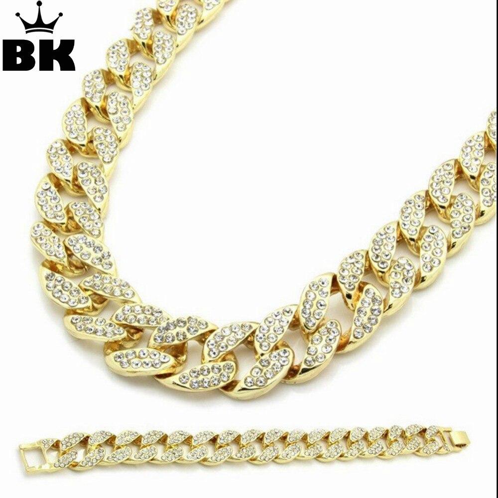 Майами кубинец звено цепи набор золото Цвет полностью, со стразами с хип-хоп Bling Лидер продаж 2016 года 15 мм 30 Цепочки и ожерелья и 8,5 браслет