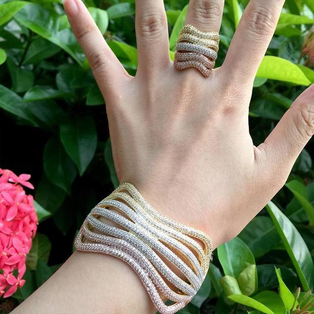 ModemAngel, роскошная линия, специальный дизайн, блестящие стразы, медное кольцо, браслет, набор, обручение, широкие, большие, браслеты для женщин, бижутерия