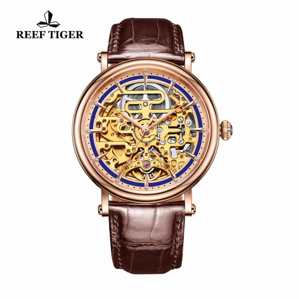 все цены на Reef Tiger/RT Vintage Business Watches for Men Rose Gold Tone Skeleton Watches Automatic Watch Brown Leather Strap RGA1917 онлайн