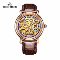 Reef Tiger/RT Vintage Business Watches for Men Rose Gold Tone Skeleton Watches Automatic Watch Brown Leather Strap RGA1917|watch automatic|watch brown|watch business -