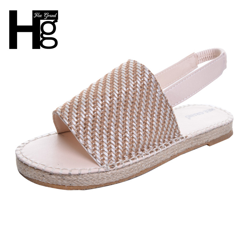 HEE GRAND Women Sandals Hemp Breathable Fish Toe Flat Heel Summer Shoes For Woman XWZ4255 hee grand soft transparent jelly women sandals flat with crystal colorful rhinestones butterfly knot beach shoes xwz3446