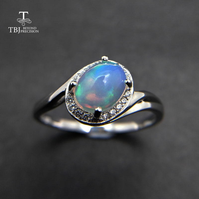TBJ Lady gemstone ring with natural ethiopian opal oval 6 8mm classic Ring in 925 sterling