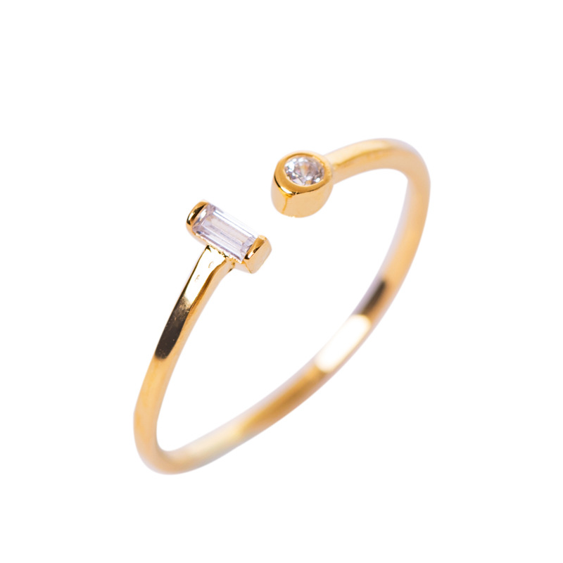 LouLeur 925 Sterling Silver Square Zircon Rings Fashion Wild Single Circle Adjustable Open Rings For Women Men Lovers' Jewelry