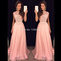 Elegant 2017 A-line Cap Sleeves Floor Length Pink Appliques Lace Women Long Evening Dresses Evening Gown Prom Dresses Gown