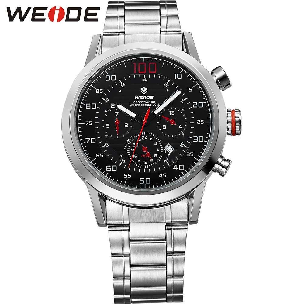 WEIDE Fashion Quartz Watches Men Date Analog Display Water Resistant 3atm Luxury Brand Men's Stainless Steel Wrist Casual Watch weide wh 2303 stylish stainless steel men s analog quartz wrist watch silver blue 1 x cr2016