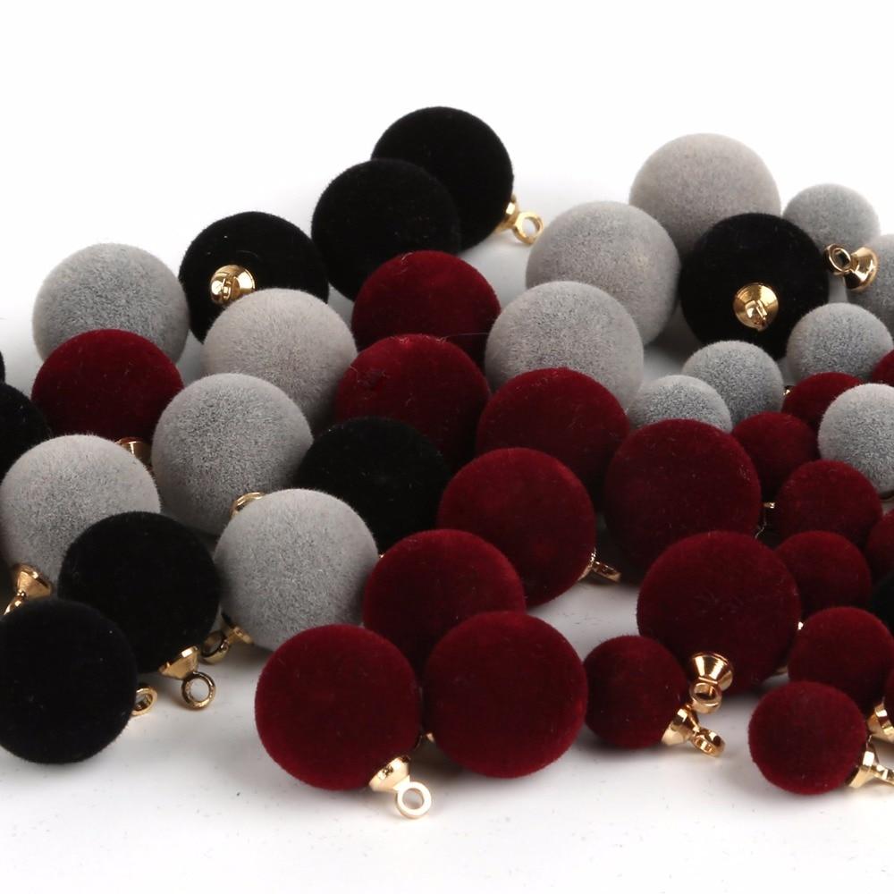 10 шт./лот, круглые бусины с флоком, 8 мм, 12 мм, Бордовый/серый/черный цвета, фурнитура для самостоятельного изготовления ювелирных украшений