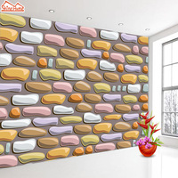 ShineHome Embossed Brick Stone Wallpaper Roll For Walls 3d Grey Cafe Mural Wallpapers For 3 D