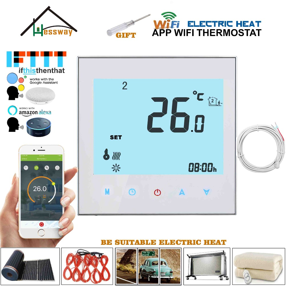EU 95-240VAC 16A Remote Sensor Central Heating Thermostat WIFI IVR For Electric Heat,heating Cable,electric Heating Film