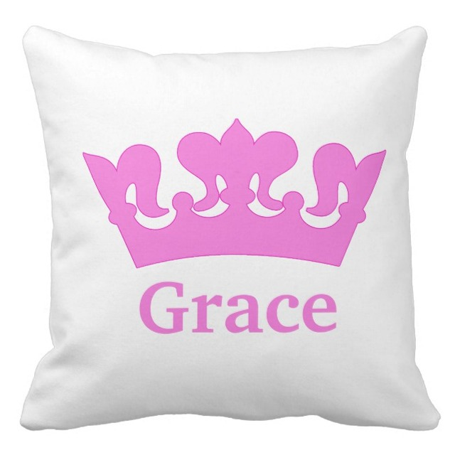 Baby Name Custom Cushion Cover Pink Princess Crown Pillow Cases Canvas Birthday Decorative Sofa Home Decor