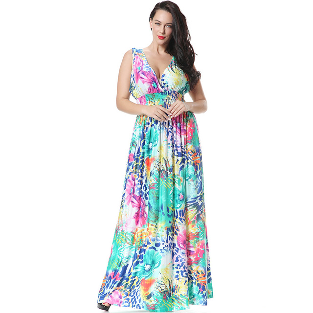 c3c6e4bd6ca07 Floral Print Summer Dress Big Size XL-7XL Sleeveless Floor-length Maxi Dress  Beach Sundress 6XL Slim Waist Sexy 4XL Vestidos 3xl