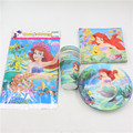41pcs 10people birthday decorations the little mermaid party supplies disposable tableware party napkins plates cups ect set
