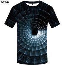 KYKU Galaxy Space T-shirts Men Psychedelic Tshirt Printed Dizziness Tshirts Casual Black Hole Print T shirt 3d