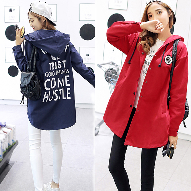 2018 autumn winter women trench coats large size fashion wild long casual loose coat printing letters Hooded Trench Women Coats