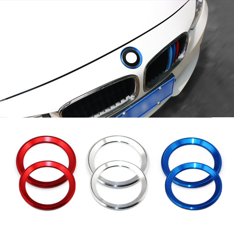 For BMW <font><b>3</b></font> 4 Serise M3 M4 F30 F31 F32 F34 F82 Aluminum Alloy 2pcs Front Head & Rear Logo Circle Ring Chrome Cover Trim image