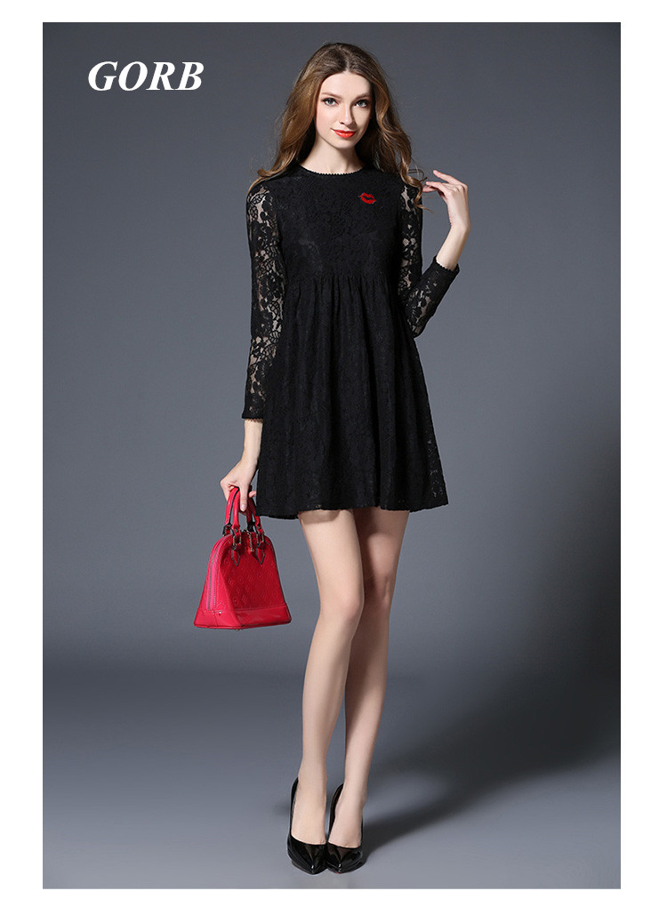 GORB 2017 Newest Europe Hot Sales Fashion Black Women Good Quality High Waist Long Sleeve Runway Lace Mini Short Dress G5094