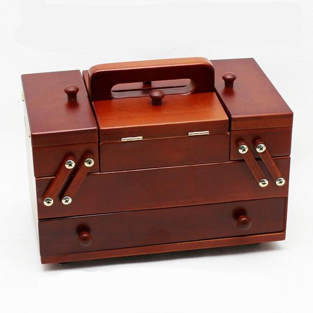Boîte à couture en bois naturel | Fil à coudre en Polyester, couture, Patch organisateur, boîte de rangement, mallette de couture avec accessoires