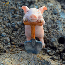 Everyday Collection Resin Struggling pig fairy garden miniatures decoration & Home Decoration Accessories