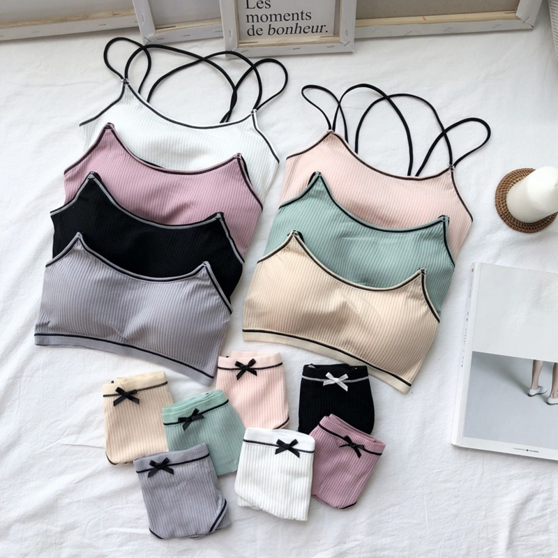 Women   Bra     Brief     Set   Female Cotton Underwear Comfortable Wireless Lounge Wear Black White Padded   Bras     Sets   Lingerie