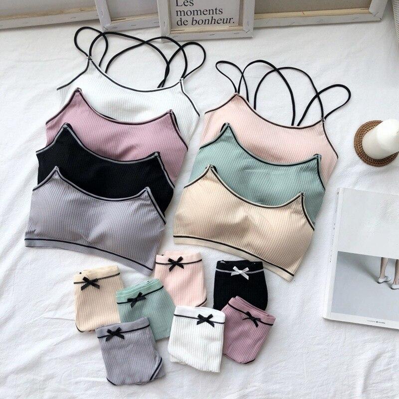 Women   Bra     Set   Female Underwear Comfortable Wireless Lounge wear Black White Cotton   Bras     Sets   Lingerie