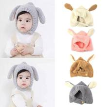 Newborn Infant Baby Winter Thicken Faux Fleece Stitching Guard Cap Cute Long Rabbit Ears Warmer Contrast Color Beanie Hat Earmuf(China)