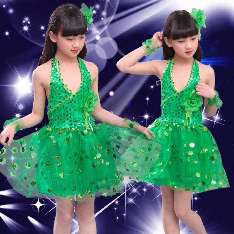 Блестящими Пайетками современный танец костюмы, сценическая одежда для детей, платье для сцены и танцев, Одежда для танцев для девочек - Цвет: Зеленый