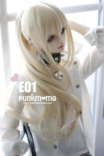 1/3 (22-24cm)  bjd  wig   doll  DIY High-Temperature gold / black  long  hair for  BJD/DD dollfie