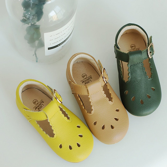 Genuine Leather Girls sandals Handmade laciness Baby sandals Kids shoes Princess shoes Children Sandals