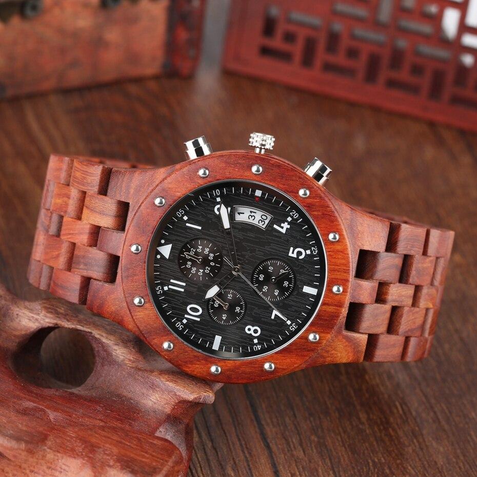 Wooden Watch Men erkek kol saati Top Luxury Stylish Redwood Timepieces Chronograph Military Date Calendar Quartz Watches for Men 2019 2020 2021 2022 (8)