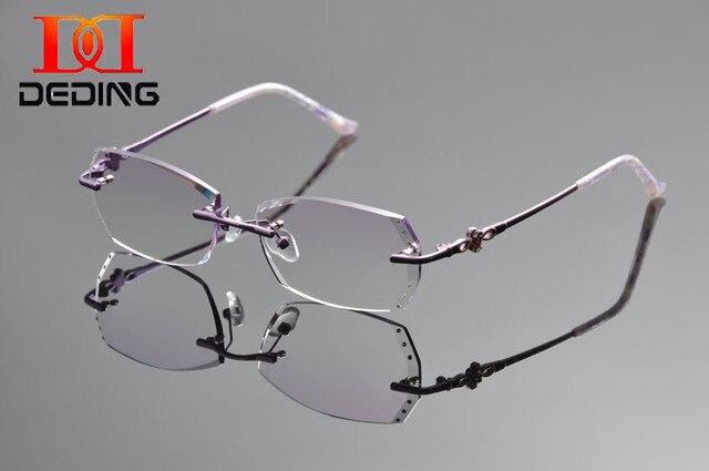 DeDing Женщины Титанового Сплава Rx Очки Прозрачные Линзы Очки Легкая Рама Antiblue лучей 1.61 индекс линзы без оправы frameDD1313
