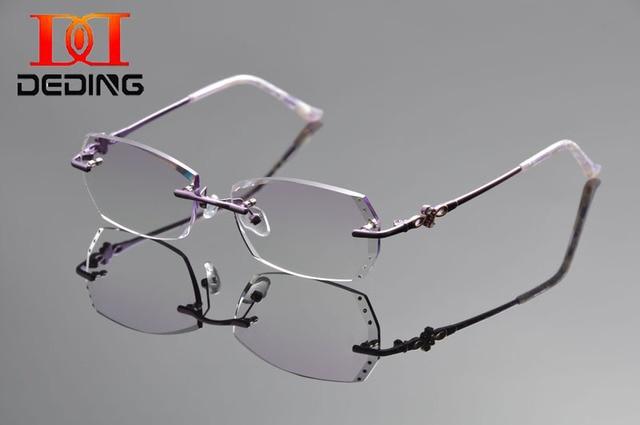 fb207b7ac76 DeDing Women Titanium Alloy Rx Eyeglasses Clear Lens Glasses Lightweight  Frame Antiblue rays 1.61index lens