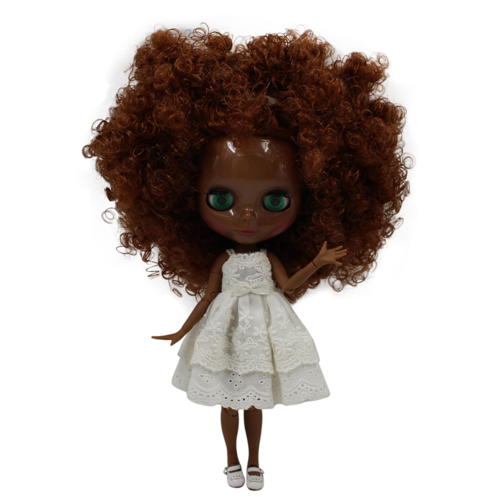 ICY Nude Blyth doll No 280BLQE965 Brown Curly hair JOINT body Super Black skin BJD Neo