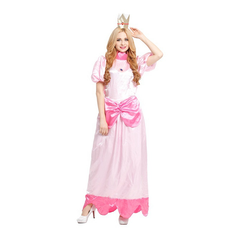 shanghai story ladies princess peach costume women cosplay party halloween costumes for women pink fancy dress - Halloween Costume Pink Dress