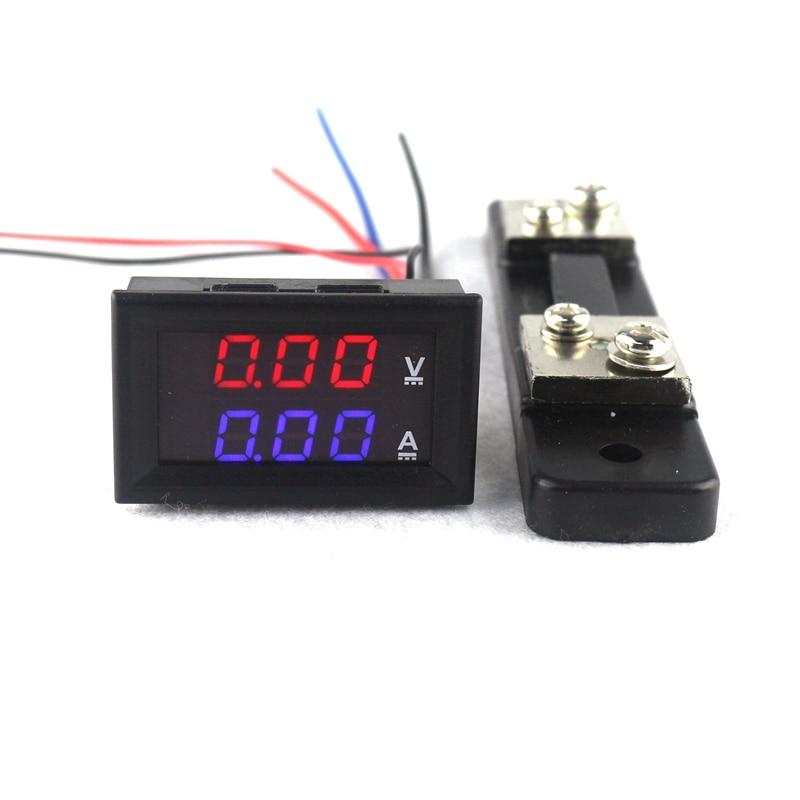 0.28 DC 0-100 v/50A Rouge Bleu Numérique Voltmètre Ampèremètre DC 2 en 1 D'ampère De Volt compteur Avec 50A/75mV Ampère Shunt