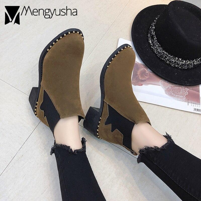 Llegada 2019 Martin Estiramiento Tobillo khaki Nueva Tacones Negro Botines Estudiante Zapatos Remaches Gruesos Marca Mujeres Del Vaca Cuero Suede rr5p7qA
