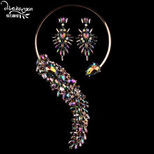 Dvacaman Brand Luxury Wedding Colorful Crystal Jewelry Sets For Women Lady Party Pendant Necklace&Dangle Earrings Bijoux TT62
