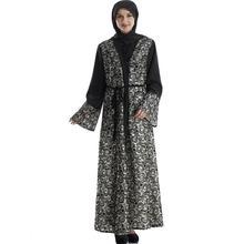 2018 fashion muslim adult lace abaya Arab Fashion Turkey Middle East hit color Cardigan Dresses Musical Robe Ramadan wj828