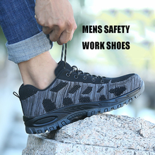 Men's Breathable Mesh Shoes Steel Toe Outdoor Safety Shoes Men Industrial & Construction Puncture Proof Work Shoes Grey/Red