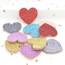 20Pcs Glitter Fabric Felt Padded Appliques Heart Patches for DIY Crafts Clothes Bags Wedding Hair Bow Decoration Accessories F62(China)