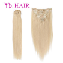 #613 Clip in human hair extensions 7pcs 8pcs lot remy clip in hair extension double drawn 613 blonde virgin hair wholesale price