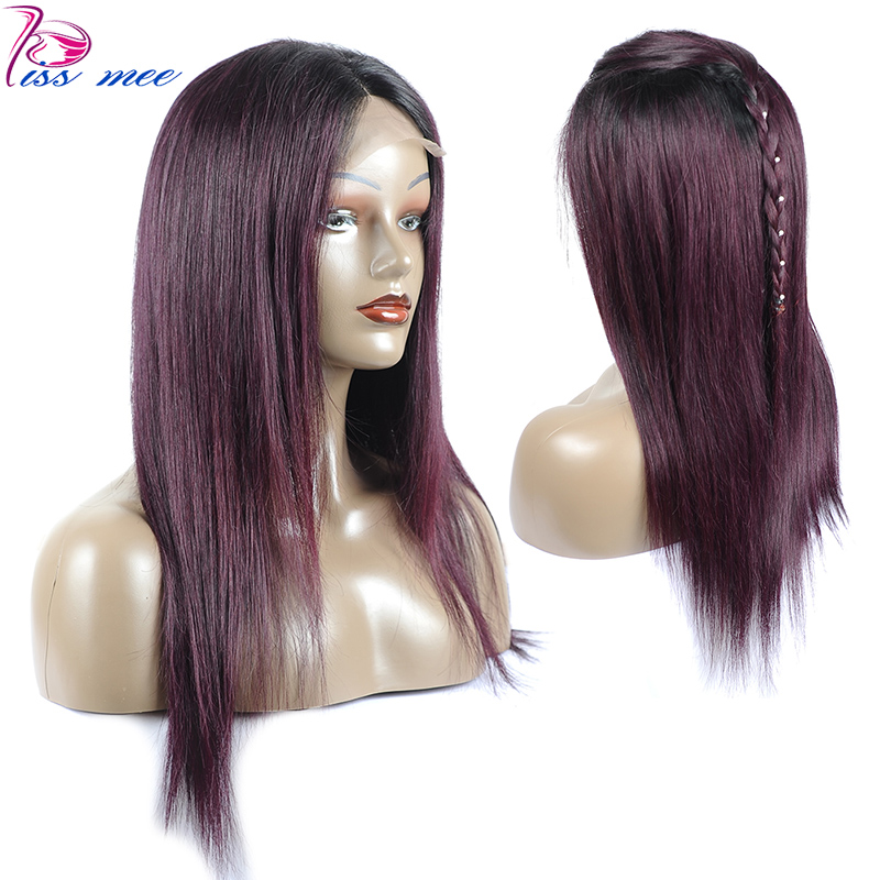 KISSMEE 1B 135 Ombre Lace Front Human Hair Wig Brazilian Straight Wigs With Baby Hair Bob Lace Wigs For Black Women Remy Hair